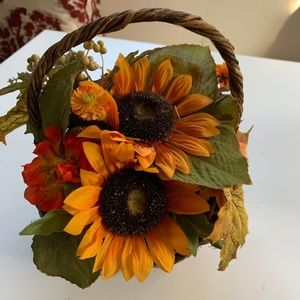 Fall sunflower leaves faux floral basket decor